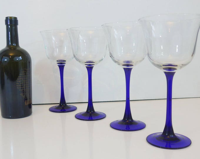 6 Vintage Cristal D'Arques Durand Americana Blue Water Goblets France - 6 Clear Bowl Blue Stem w/ Wide Bowl Water Glasses - Luminarc