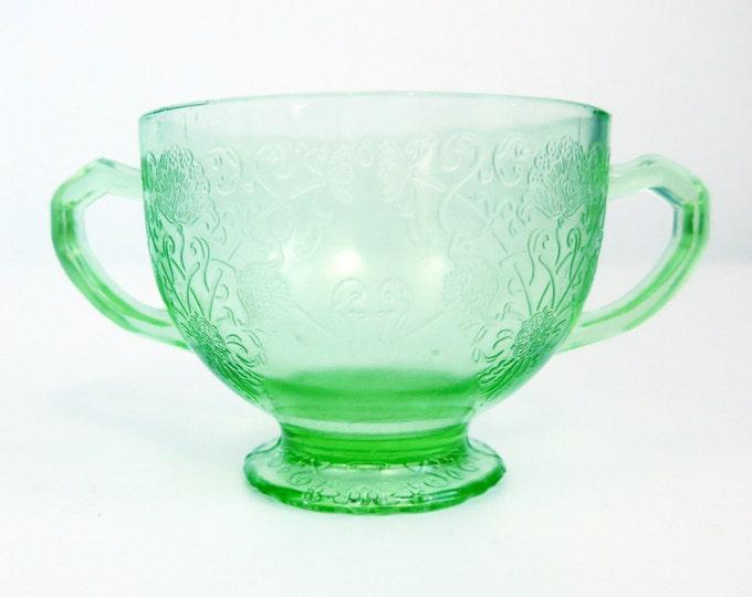 Hazel Atlas Florentine #1 Green Depression Glass - Green Glass Open Sugar Bowl From 1930s - Unique Poppy Pattern Retro Kitchen Serving