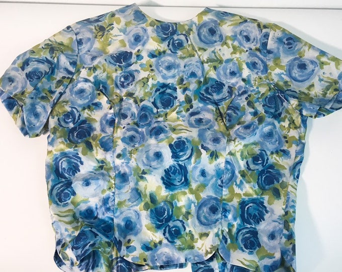 Vintage Rhoda Lee Blouse w/ Original Tags - Retro Estron Mid century Women's Top Blue Floral Shirt