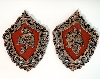 Pair Vintage Gold & Rust Red Gladiator Helmets on Shield Wall Hangings 1964 - Roman Soldier Mid Century Home Wall Art Decor