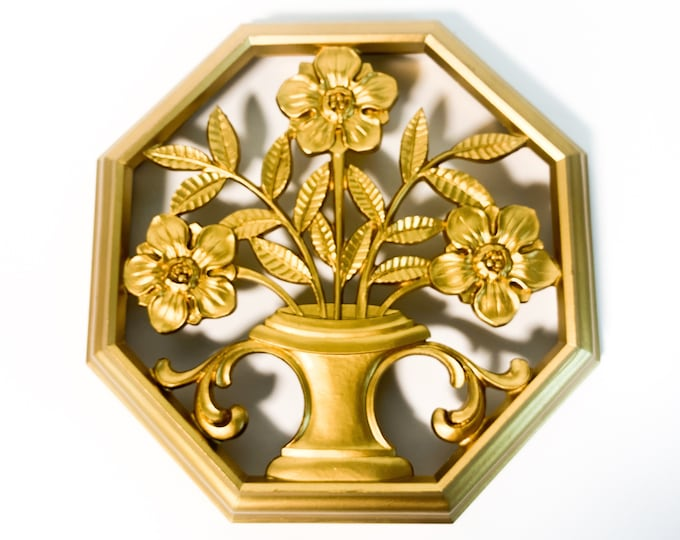 Vintage Syroco Gold Ornate Wall Hanging Mid Century - Octagon Mid century Home Decor Dated 1962 A-7258 Octagon Floral Flowers in Urn Retro