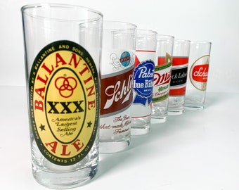 Vintage Set 6 Beer Brewing Company Tumblers by Luminarc France - Unused in Box - Set of Six Retro Drinkware - Collectible Logo & Slogan