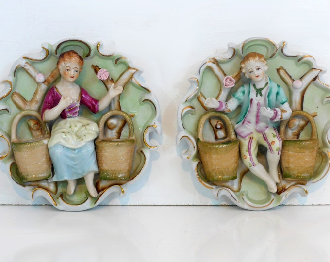 Vintage Thames China Victorian 3D Wall Plaques Water Bearers - 2 Pc Man Woman Wall Decor Ornate Japan Circa 1940s - Collectible w/ Stickers