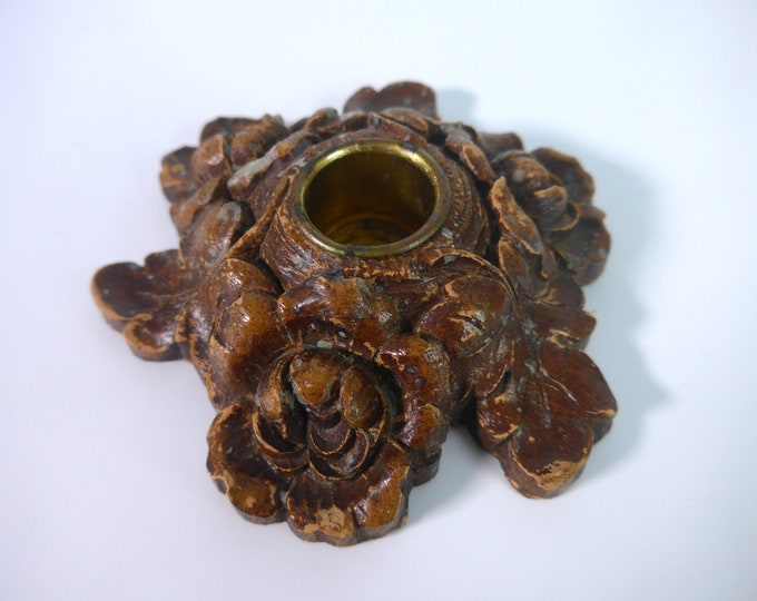 Brown Syroco Leaves Flowers Candlestick Holder Circa 1930s - Vintage Home Decor - Mid Century