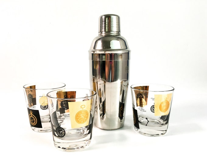 Set of 3 Mid century Rocks Glasses Black & Gold w/ Clocks - Vintage / Retro Cocktail Modern Drinkware Time Motiff