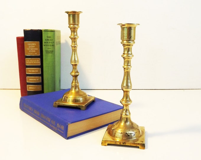 2 Vintage Brass Candlesticks - Matching Pair of Brass Candle Stands - Medium Tall Brass Candlesticks - Rustic Shabby Chic Vintage Home Decor