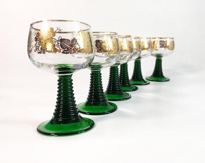 Vintage Green Stem Bockling Large Wine Glasses - Set of 6 - Gold Rim Grape Design - Rhine Riesling Style Germany