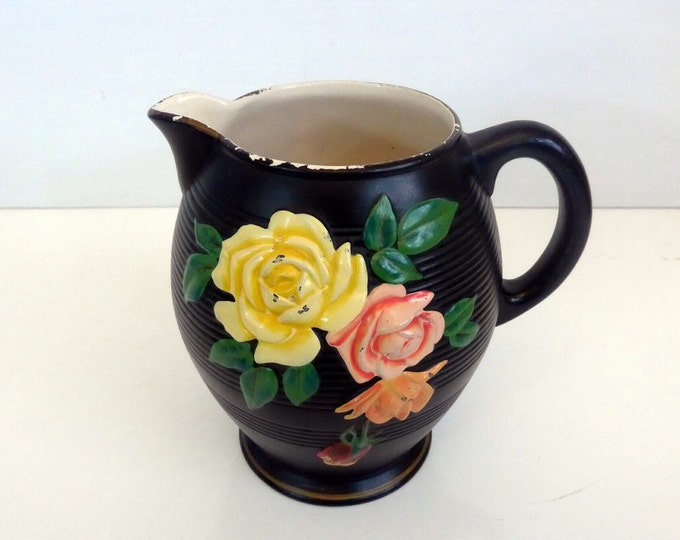 Black Pitcher Vintage or Antique Brentleigh Ware Kempton Windsor Pattern w/ Pink & Yellow Flowers - England 1920 / 1930