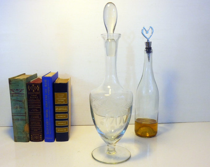 Vintage Tall Etched Decanter w/ Glass Stopper - Large Etched Glass Wine Decanter or Bottle w/ Oval Shaped Stopper - Large Bittle w/ Stopper