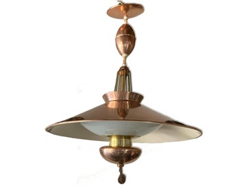 Mid century Lightolier Atomic Hanging Ceiling Light Glass Retro Lighting w/ Egg Shape by Gerald Thurston Copper & Brass Finish Retractable
