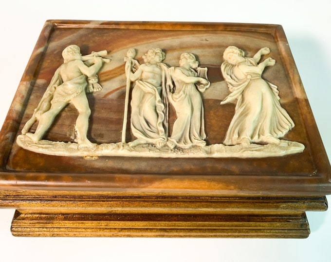 Vintage Incolay Carved Stone & Wood Jewelry Box - Velvet Lined 2 Compartment Chest - Retro Bedroom Bathroom Decor Carved Greek Roman Figures
