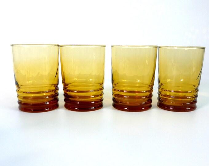 Set of 4 Vintage Libbey Honey Amber Malibu Gold Juice Glasses - Ribbed at Base w/ Swirl Pattern - Retro Glassware