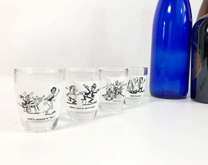 Vintage Set 4 Anchor Hocking Humorous Shot Glasses with Funny Sayings / Drawings Mid century Barware Cartoon - 1 Matching Set