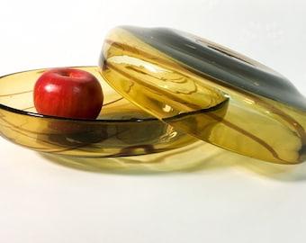 Pair Art Glass Bowls 1970s Home Decor - 2 Heavy Amber Glass w/ Dark Red Swirls