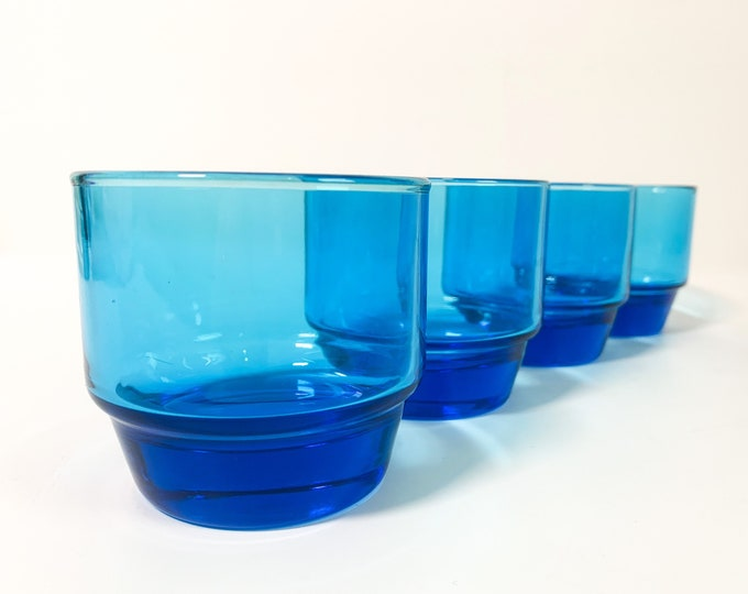 Vintage / Retro Aqua Blue Stackable Drinking Glasses - Set of 4 Lowball / Barware - Vintage Glassware