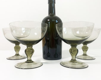 Set 4 Vintage Smokey Gray Large Champagne Coupes or Sherbet Cups w/ Wafer on Stem. NOTE: Two sets are available.