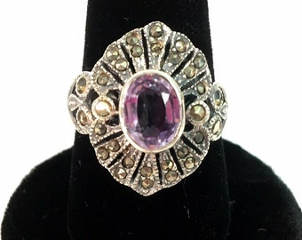 Vintage Ornate Sterling Silver Amethyst & Marcasite 925 Sterling Silver Ring - Retro Jewelry Purple Gem Stone Statement Hallmarked