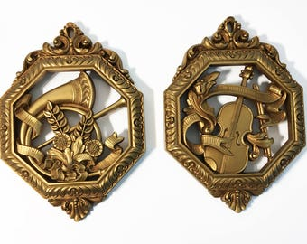 Set of 2 Vintage Gold Ornate Wall Hangings Mid Century - Pair Octagon Florals & Musical Instruments Home Decor - 2 Syroco Homco Dated 1976