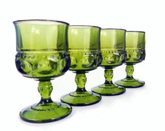 4 Vintage Kings Crown Dark Green Glass Wine or Cordial Glasses - Decorative Sides & Stems - Sturdy Glasses - Vintage Retro