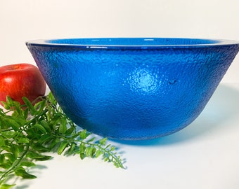 Vintage Art Glass Bowl Cobalt Blue Retro Home Decor - Heavy and Textured Glass with Thick sides - Retro Accent Centerpiece or Serving Bowl