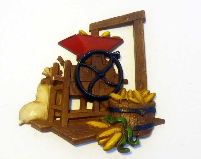 Vintage Homco Country Cottage Wall Decor - Corn Sheller and Bag - Farming Mid Century Wall Hanging Dated 1976 - Country Chic Decor