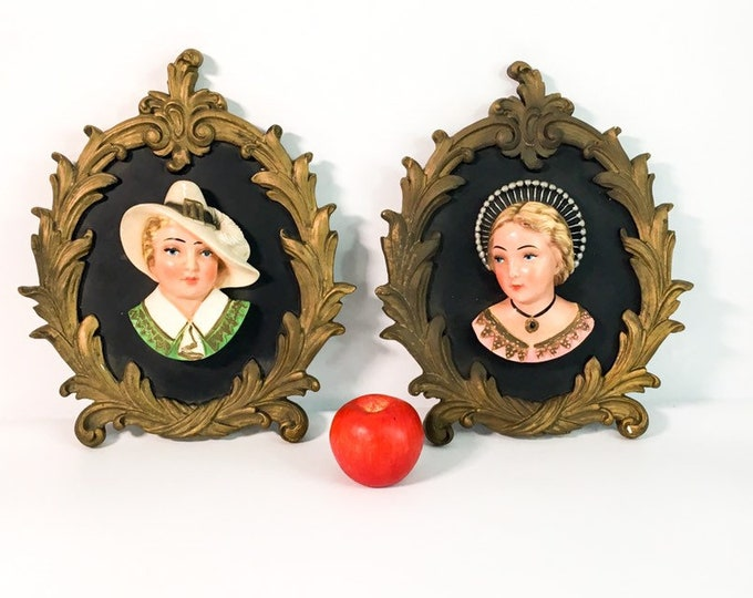 Pair Mid century LARGE Wall Decor - 2 Chalkware 3D Plaques - Vintage Home Decor Man & Woman Kitchy