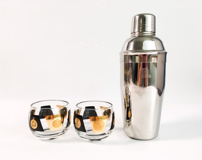 Pair of 2 Mid century Small Roly Poly Glasses Black & Gold w/ Clocks - Vintage / Retro Cocktail Modern Drinkware Time Motiff