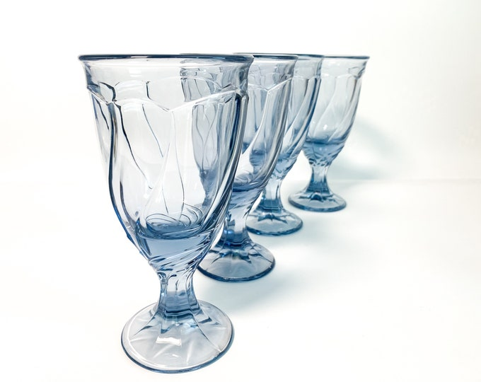 4 Vintage Noritake Blue Iced Tea / Heavy Water Goblets by Noritake Blue Sweet Swirl Glasses - Tall Set of Four Large Light Blue Drinkware