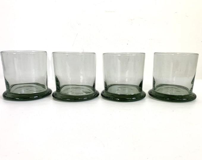 Vintage Light Smoky Grey Glasses or Tumblers Set of 4 Barware - Retro Glassware Mid Century Mod Old Fashioned Barware