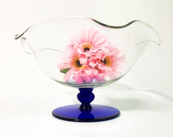 Vintage Glass Compote w/ Cobalt Blue Base Centerpiece - Retro Pedestal Bowl - Mid Century Home Decor / Housewares