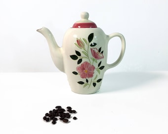 Mid Century Stangl 7 1/2 Cup Coffee Pot w/ Lid Wild Rose -  Vintage Kitchenware Pottery - Large Retro Serving  Kitchen White w/ Pink Flowers