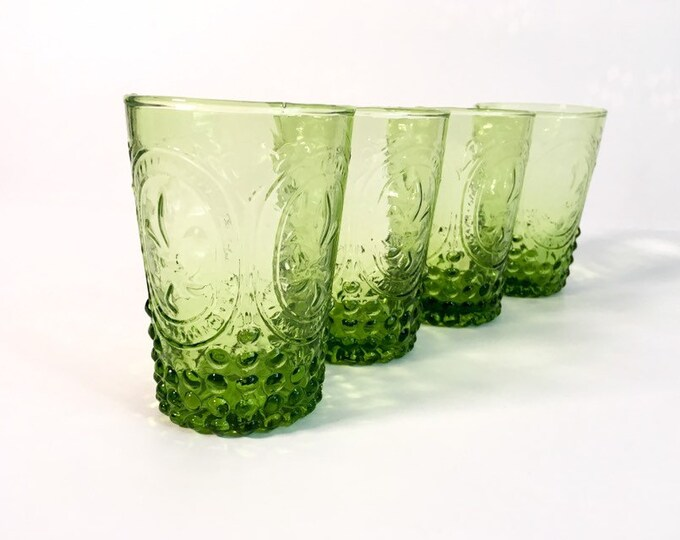4 Vintage Green Glasses w/ Hobnail Base & Fleur de Lis Crest - 4 Retro Glasses - Vintage Juice Glasses