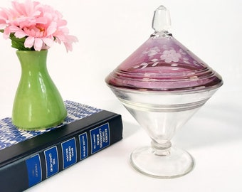 Vintage Glass Jar w/ Etched Purple Flash Lid - Pressed Glass Pedestal Base Candy Jar or Dish - Retro Home Decor