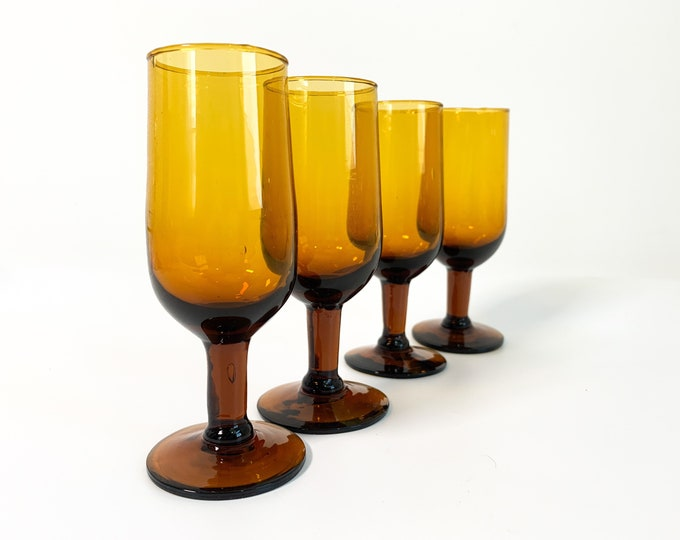 4 Vintage Dark Amber Wine Cocktail or Cordial Glasses - Set of 4 - Barware - Four Retro Dark Brown Glasses Stem Glassware Stemware