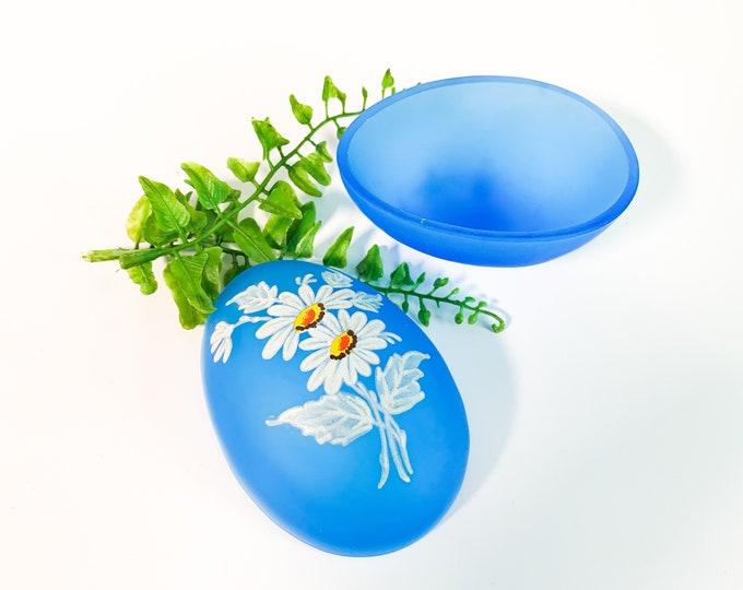 Vintage Westmoreland Blue Mist Glass Egg Shape Trinket Box with Daisies - Retro Bathroom Bedroom Home Decor