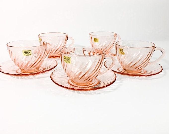 Vintage Set of 5 Rosaline Luminarc France Pink Cups & Saucers - 5 Sets Late Mid Century Pink Optic Swirl