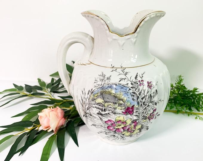 Portland Pottery Pitcher - Large Vintage White w/ Floral  - Shabby Chic Pitcher Cottage Farmhouse Decor