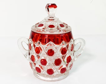 Antique Red Block Jar & Lid by US Glass - Vintage Flashed Glass Round Jar w/ Lid 2 Handles - EAPG Retro Raised Red Octagon Shapes Circa 1892