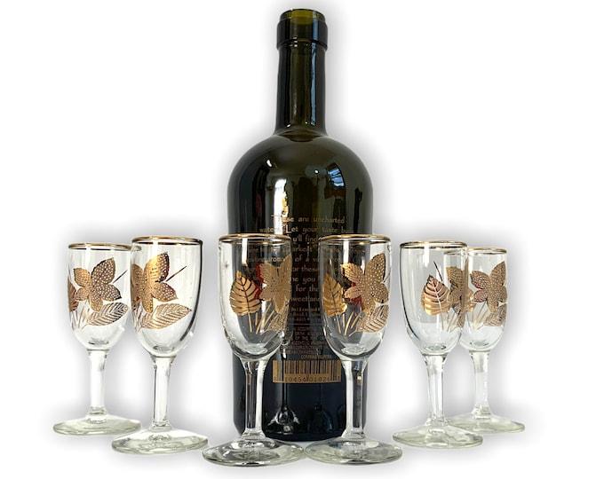 6 Vintage Gold Leaves Libbey Cordial Glasses - Retro Six Mad Men Era Mid Century Barware Small Dessert Wine Glass - Ca 1965