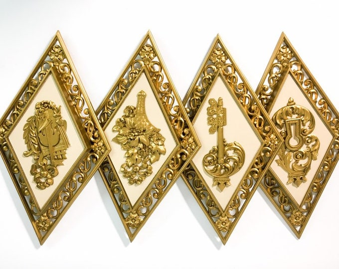 Set of 4 Vintage Dart Industries Wall Hangings Mid century - Diamond Shape Floral & Musical Retro Kitsch - Gold Beige Home Wall Decor