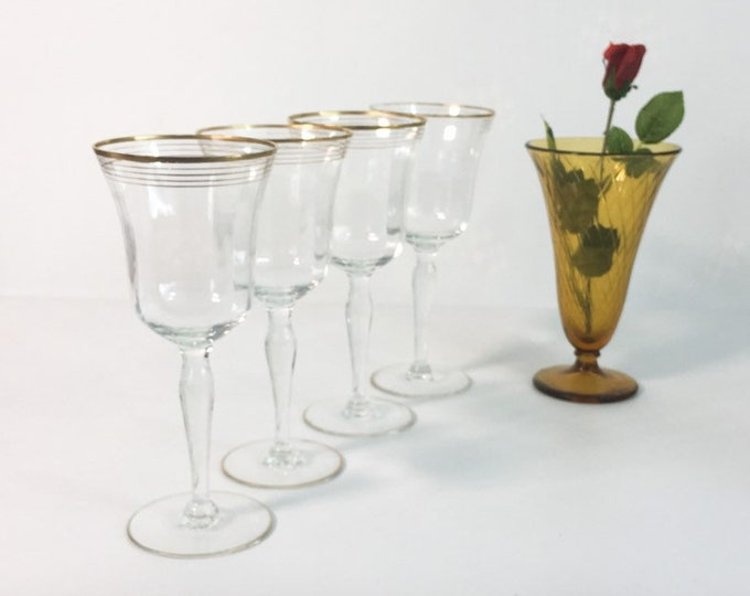 Vintage Set of 4 Gold Trim / Rimmed Water Goblet / Wine Glasses - Elegant Tall Faceted Glass - Large Gold Rimmed Goblets Iced Tea Glasses