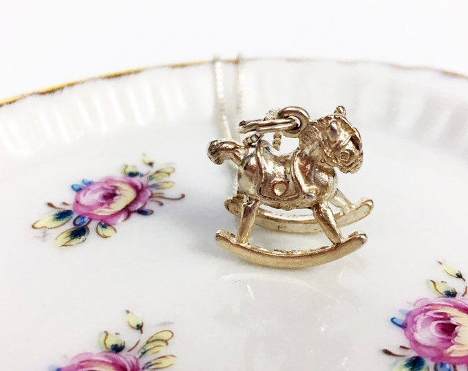 Vintage Sterling Necklace - Rocking Horse 925 Sterling Silver 3D Charm Pendant Necklace - Miniature Rocking Horse - Child - 925 Silver