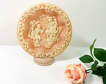 Vintage Incolay Romeo & Juliet Plate Pink - Retro Shakespeare Wall Table Display Decor Carved Collectible Unique Color