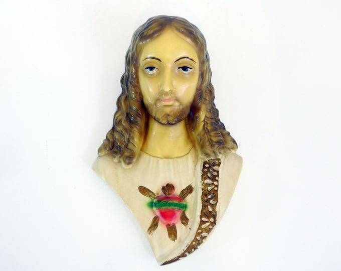 Vintage Large Wall Plaque of Jesus - Sacred Heart Jesus Chalk ware Wall Plaque - Religious Shabby Chic- Catholic Wall Decor