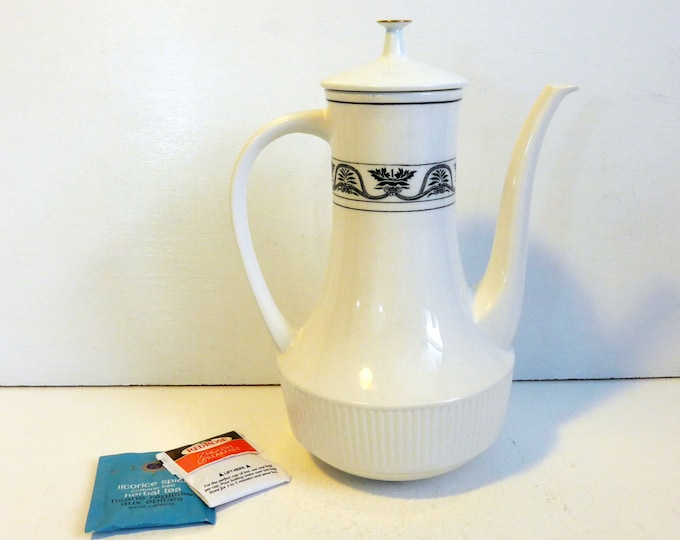 Mid century Coffee Pot & Lid - Hamilton Amcrest Tradition - White with Dark Pattern Mod Modern Ironstone Japan White w/ Gold Trim on Lid