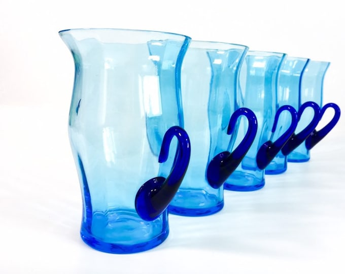 5 Vintage Stunning Blue Hand Blown Glasses w/ Handles - Retro Beautiful Blue Stemware Mugs