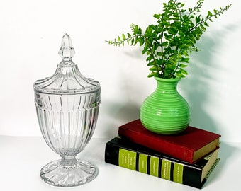 Vintage Glass Jar w/ Lid Apothecary Jar - Panneled Candy Lidded Jar - Wedding Display Storage