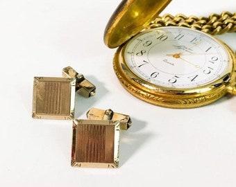 Vintage SWANK Art Deco Style Gold Filled  Cufflinks - 2 Square Retro Men's Cuff Links - Hallmarked 12K GF Men's Dress - Wedding Prom Formal