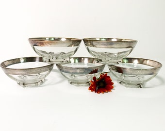 5 Dorothy Thorpe Style Bowls Silver Band / Rom - Vintage Small Bowl - Mad Men Serving / Kitchen Decor - Mid century Fruit Dessert Appetizer