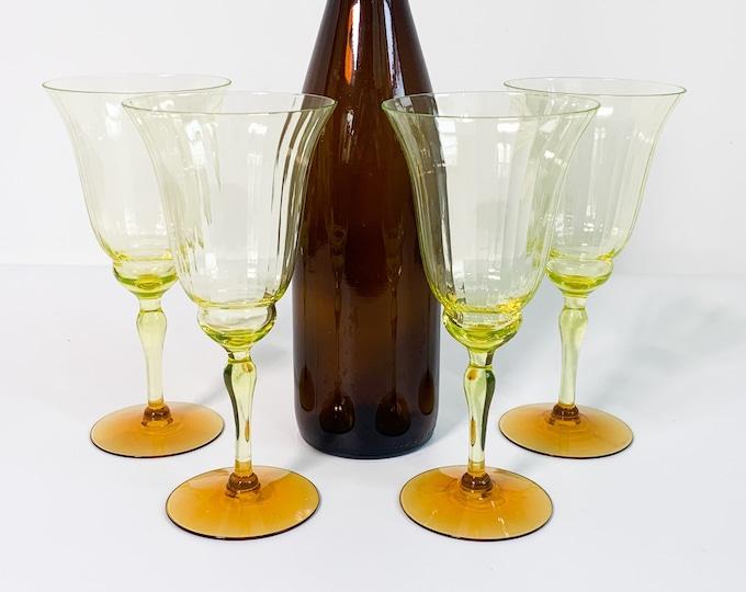 4 Vintage Yellow w/ Amber Base Uranium Glasses - Set 4 Tall Optic Bowl Depression Era Long Stem Wine or Water Glass